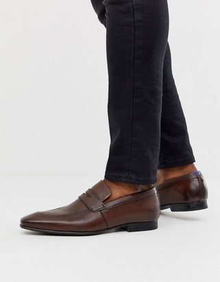 Ted Baker Galah penny loafers in Brown leather-Tan