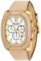 Glam Rock Women's GR70109D1 Gulfstream Collection Chronograph Diamond Accented Beige Leather Watch