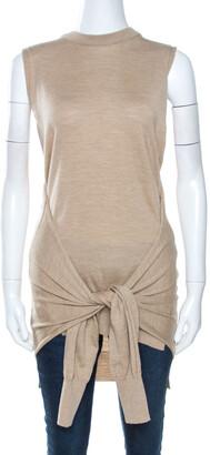 Chloé Seed Brown Wool Tie Up Detail Sleeveless Top S