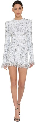 Balmain Fringed Lurex Tweed Mini Dress