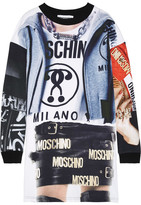 Moschino Printed Cotton-jersey Mini Dress - Black