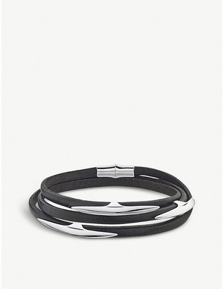 Shaun Leane Arc multi-strap sterling silver and leather wrap bracelet