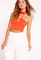 Missguided Choker Neck Harness Crop Top Red