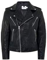 Topman Mens Black Printed Leather Biker Jacket