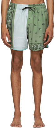 Amiri Green Bandana Reconstructed Swim Shorts