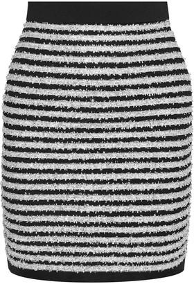 Balmain Striped Tinsel And Stretch-knit Mini Skirt