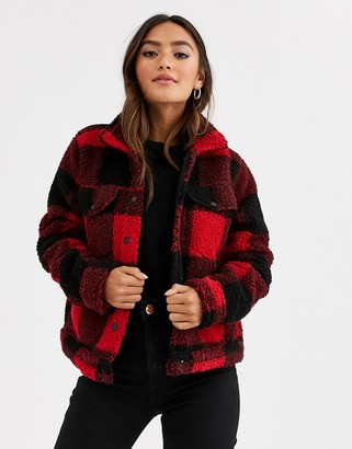 Brave Soul tedd borg tartan check jacket-Red