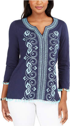 Charter Club Cotton Embroidered Split-Neck Tunic