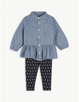 Ralph Lauren Denim shirt and anchor print two-piece set 3-36 months