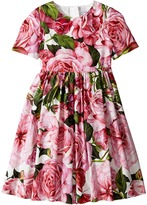 Dolce & Gabbana Rose Poplin Short Sleeve Dress Girl's Dress