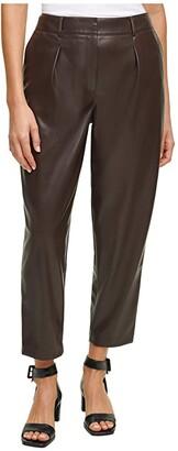 Calvin Klein Pleat Front Faux Leather Pants (Coffee Bean) Women's Casual Pants