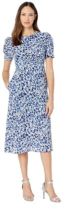 Vince Camuto Printed Scuba Crepe Fit-and-Flare Dress w/ Novelty Sleeve (Blue Multi) Women's Dress