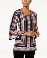 JM Collection Petite Printed Embellished Hardware Tunic, Created for Macy's