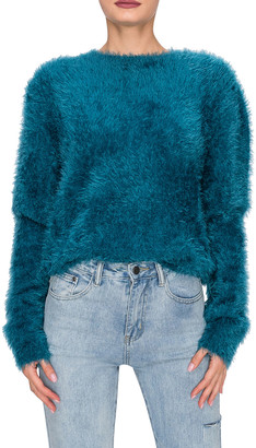 Endless Rose Solid Feathered Knit Sweater