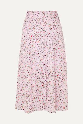 Nicholas Floral-print Silk Crepe De Chine Midi Skirt - Pink