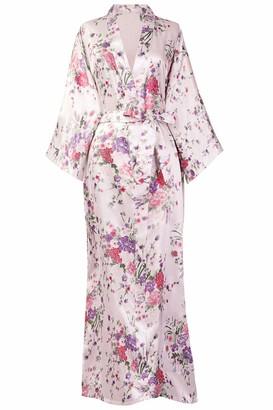 BABEYOND Silk Satin Kimono Dressing Gown Floral Kimono Robe For Women Silk Wedding Girl's Bonding Party Pyjamas 135cm Long (Pink)(Size: One Size)