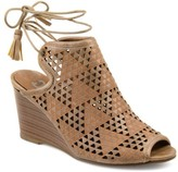 Brinley Co. Womens Faux Leather Laser-cut Peep-toe Ankle Wrap Wedges