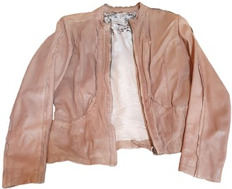 Suite 412 Beige Leather Leather Jacket for Women