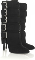 Buckle-embellished suede boots