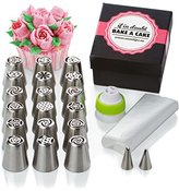 Sweetips 30-Piece Cake and Cupcake Icing Flower Decorating Kit Bundle of 18 Russian Flower Tips, 2 Leaf Tips, 10 Large Pastry Bags and Coupler