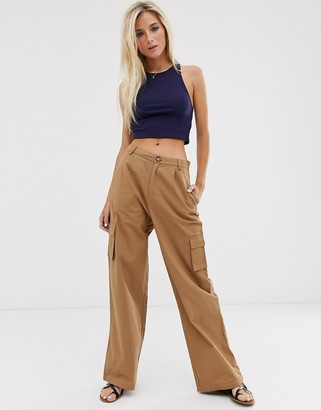 Daisy Street wide leg pants with patch pockets in brown
