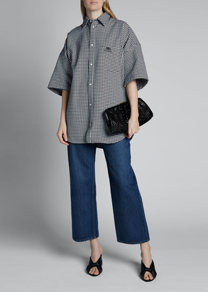 Balenciaga Houndstooth Button-Down Top