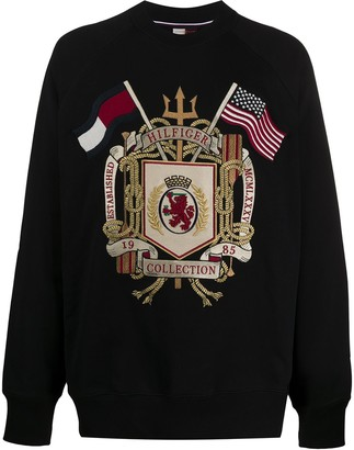Tommy Hilfiger Boxy Fit Logo Crest Embroidered Sweatshirt