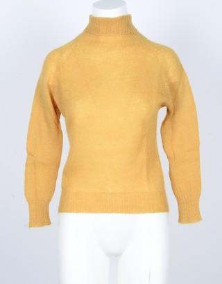 Pink Memories Yellow Mohair Wool Blend Women's Turtleneck Sweater