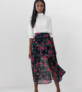 Fashion Union Tall midi skirt with split in dobby floral