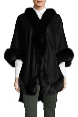Wolfie Fur Fox Fur-Trim Cashmere Wool Cape