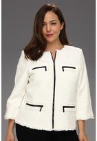 MICHAEL Michael Kors Plus Size Twisted Frayed Zip Jacket (White) - Apparel