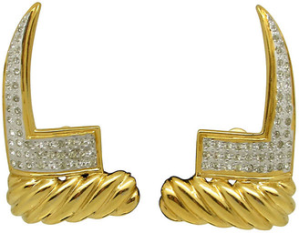 One Kings Lane Vintage Valentino Ribbed Earrings with Rhinestones - Thanks for the Memories