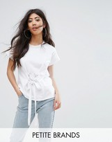 Boohoo Petite Lace Up Waist Detail T-Shirt