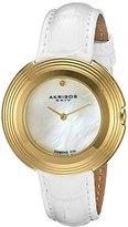 Akribos XXIV Women's AK876WTG Mother-of-Pearl Dial Gold Tone & White Leather Strap Watch