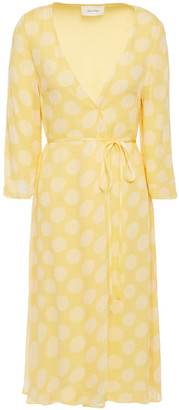 American Vintage Polka-dot Georgette Wrap Dress