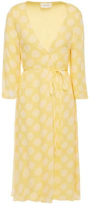 American Vintage Polka-dot Georgette Wrap Dress