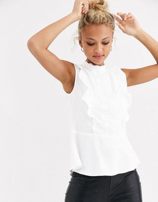 Lipsy ruffle lace detail top in white