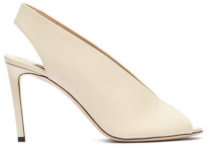 Jimmy Choo Shar 85 Slingback Leather Sandals - Womens - Cream