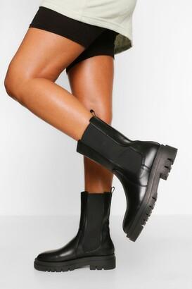 boohoo Calf High Chunky Sole Chelsea Boot
