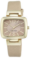 Nine West Goldtone Beige Textured-Leather Strap Watch, NW-1856NTNT