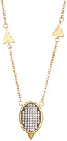 Freida Rothman 14K Gold Plated Sterling Silver Contemporary Deco Pave Pendant Necklace