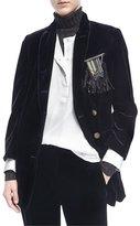Brunello Cucinelli Velvet Blazer w/Feather Pin