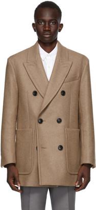 Ami Alexandre Mattiussi Beige Wool Double-Breasted Short Coat