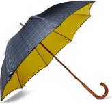 London Undercover Maple Wood-Handle Windowpane-Checked Twill Umbrella