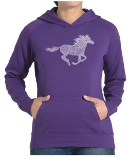 LA Pop Art Women's Word Art Hooded Sweatshirt -Horse Breeds