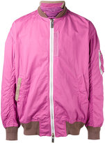 Sacai two-toned zip jacket - men - Cotton/Cupro/Polyester/Wool - 2
