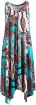 Glam Blue & Crà ̈me Paisley Sleeveless Handkerchief Dress