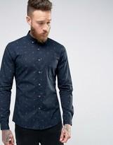 Asos Skinny Anchor Print Shirt In Navy With Long Sleeves