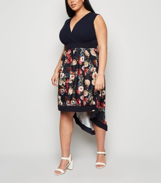 New Look Mela Curves Floral Wrap Dress