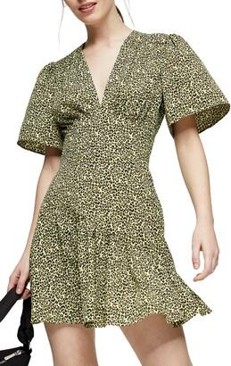 Topshop Flutter Sleeve Leopard Print Minidress